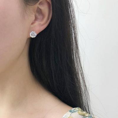 14k 화이트 큐빅 기본 침 귀걸이 8mm 10mm
