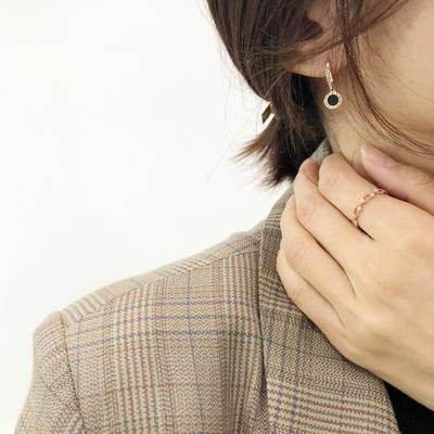 14K오닉스 큐빅 원터치 귀걸이