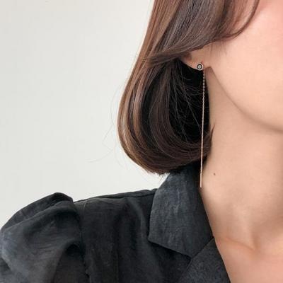 14K 오닉스 언발 드롭 귀걸이