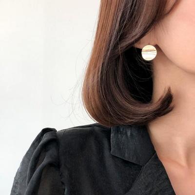 14K 엣지 써클 원터치 귀걸이
