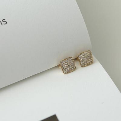 14K 사각 큐빅 원터치 귀걸이