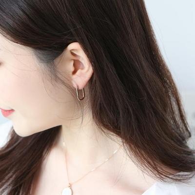 14K 볼륨 클립 사각 이영애 원터치 귀걸이