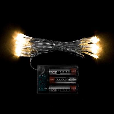 30구 투명선 피켓 LED 웜색전구(3M) (배터리) (점멸有) (40cm∼60cm트리용)