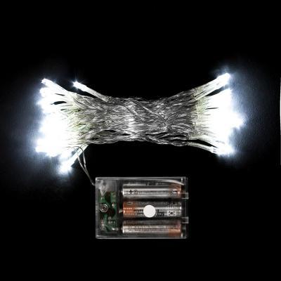50구 투명선 피켓 LED 백색전구(5M) (배터리) (점멸有) (90cm트리용)