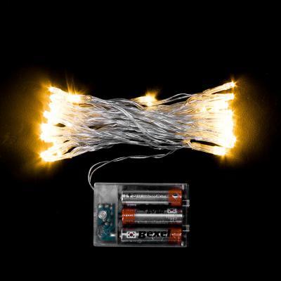50구 투명선 피켓 LED 웜색전구(5M)(배터리)/트리전구