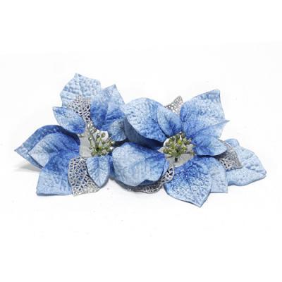2p 크리스마스 포인세티아(블루)(23cm) 꽃장식