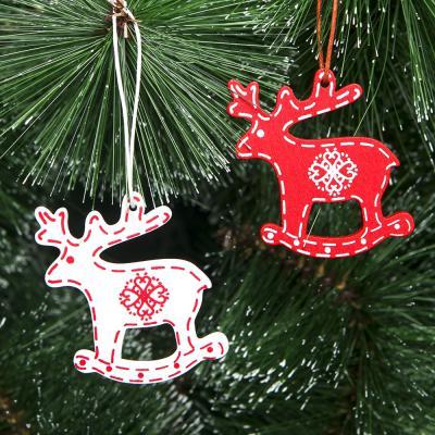 화이트&레드 나무장식 12p세트(사슴)/크리스마스장식