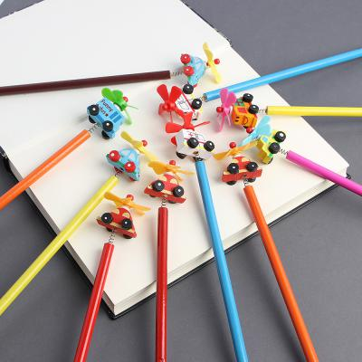 프로펠러 자동차 원목연필 10p/어린이선물 자동차연필