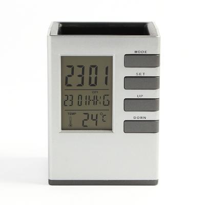 큐브 디지털 탁상시계/펜꽂이겸용 무소음 알람시계