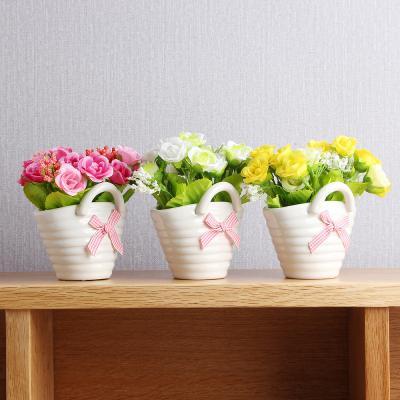 러블리 장미조화  도자기바구니/조경 인테리어 조화꽃 미니화분