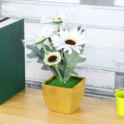 부의상징 화이트해바라기 조화화분/미니화분 인테리어 조화꽃
