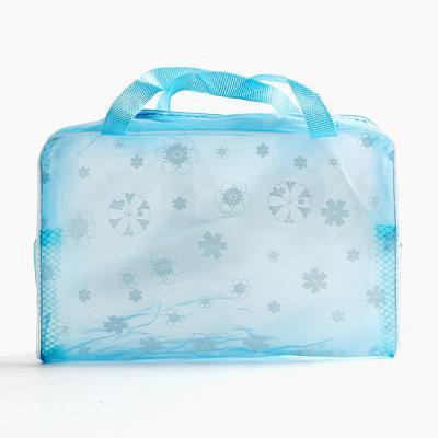 꽃무늬 투명 비치백/손가방 파우치 수영가방 목욕가방