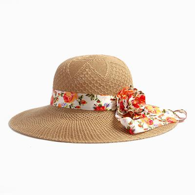 리본 왕골 밀짚 모자
