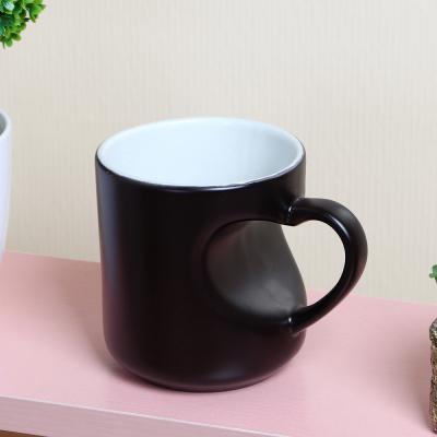머그컵(블랙) 손잡이 하트머그잔 커플머그잔