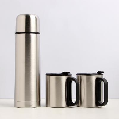 커플 스텐컵+500ml 진공보온병(보냉병) 세트(전용파우치포함)