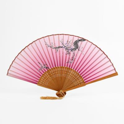 죽림 대나무 접이식 부채(보라)/휴대용 여름 전통부채