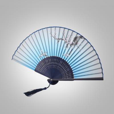 죽림 대나무 매화 부채(블루)/전통부채 대나무부채