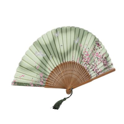 죽림 접이식 죽림 나비 부채(그린)/대나무 전통부채