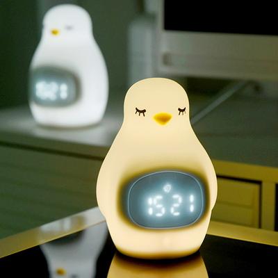 씨익 펭귄 무소음 알람탁상시계 LED무드등