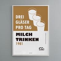 유니크 인테리어 디자인 포스터 M 우유를 마시자 독일 포스터
