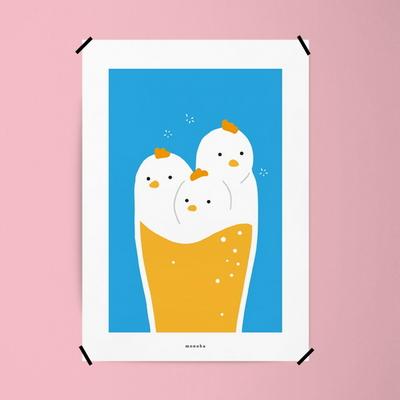유니크 디자인 인테리어 포스터 M 치맥퐁당 치킨 맥주