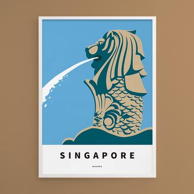 싱가포르 머라이언 M 유니크 인테리어 디자인 포스터 여행