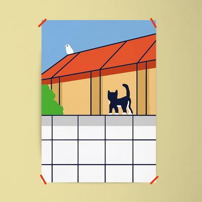 턱시도 고양이 M 유니크 인테리어 디자인 포스터 동물
