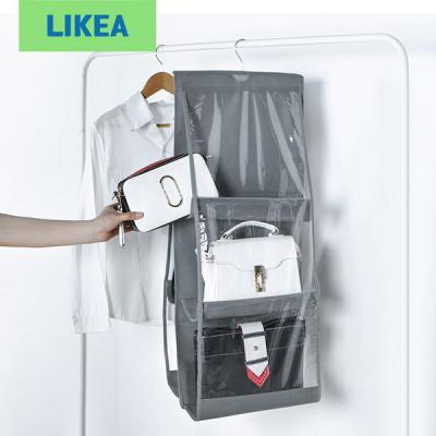 핸드백 전용 6칸 페브릭 걸이형 틈새수납 정리함 가방수납 행거형 더스트백