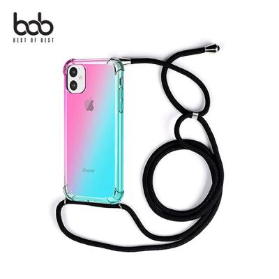 bob 레인보우 트래블러 숄더 스트랩 핸즈프리 케이스 아이폰 11 프로 XS 맥스 XR 8 7 6S 플러스