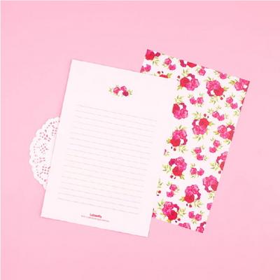 핑크 로즈 편지지 세트