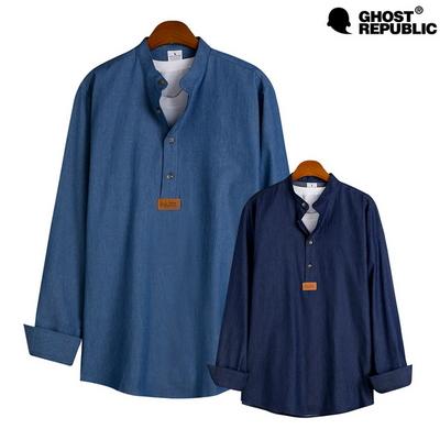 고스트리퍼블릭 MSH-536 베이직 데님 헨리넥 긴팔 셔츠