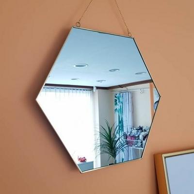 골드 프레임 육각 벽걸이거울 대형 40 x 34