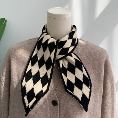 리프 체크 여성 스카프 머플러 가을 겨울