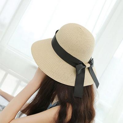 섬머 여성 리본 둥근 밀짚모자 나들이 모자