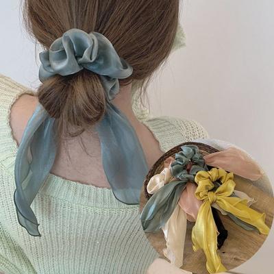 피오 여성 쉬폰 곱창 리본 머리끈 헤어밴드
