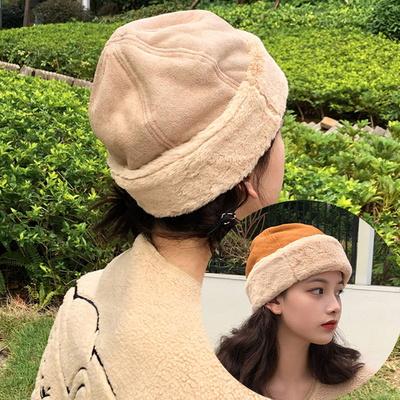 밀쿠 여성 스웨이드 겨울 퍼 비니 모자