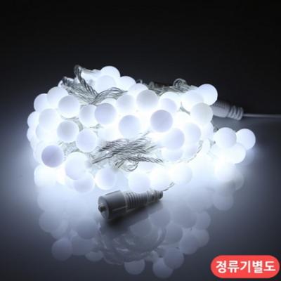 LED 트리구 100구 연결형 투명선 백색 볼앵두 장식