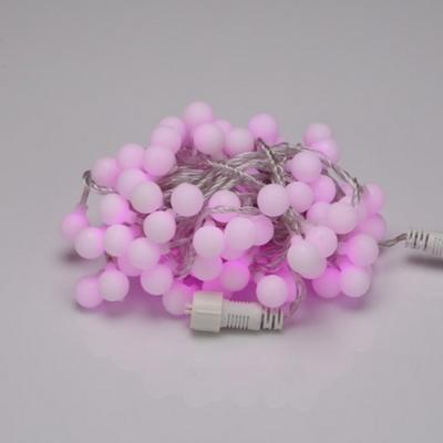 LED 트리구 100구 연결형 투명선 핑크색 볼앵두 장식