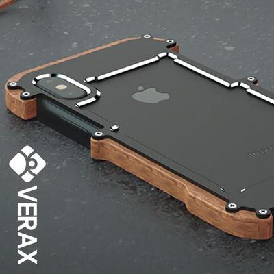 아이폰X R-JUST 정품 조립식 우드 메탈 하드케이스 (P122)