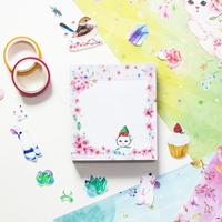 떡메모지 - 고양이플라워(핑크)