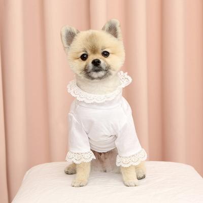 강아지 자수 레이스 니들포인트 티셔츠 c2