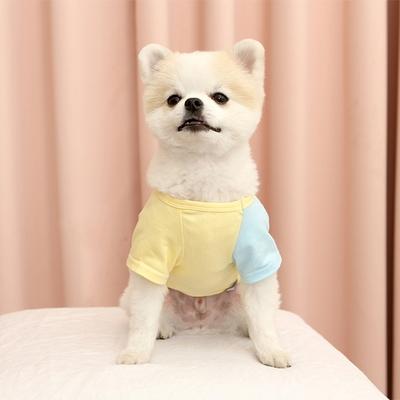 강아지 자수 배색 주머니 니들포인트 티셔츠 c2