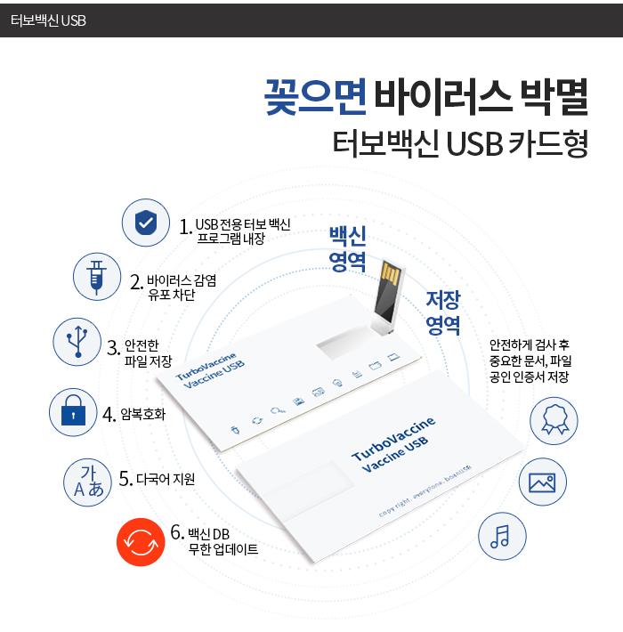 터보백신 USB 32GB 카드형 꽂으면 백신 기능 암호화 - 터보백신 USB, 63,000원, USB 카드형, USB 32G이상