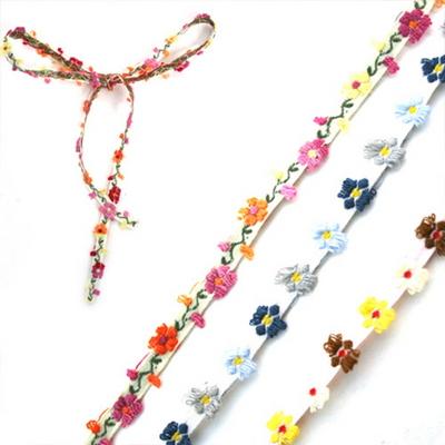 들꽃 입체 자수리본 1cm x 1마 (3색상중 택1)