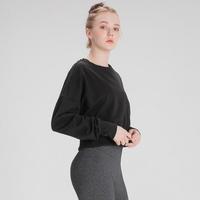 여성운동복 스웨트 크롭 맨투맨 블랙
