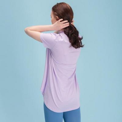 에이라인 반목폴라 반팔 티셔츠 연보라