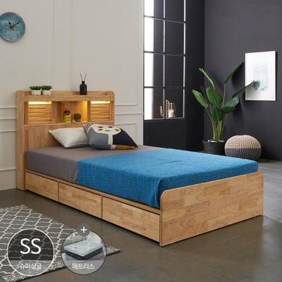 원목 LED 수납 서랍침대+파워인디 독립매트리스 포함 SS