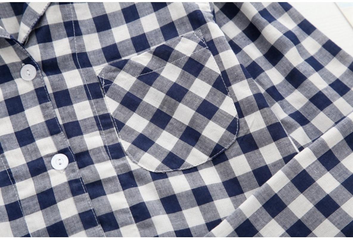 깅엄 체크 상하 세트 면 커플 잠옷 - 오끼뜨, 35,000원, 잠옷, 커플파자마