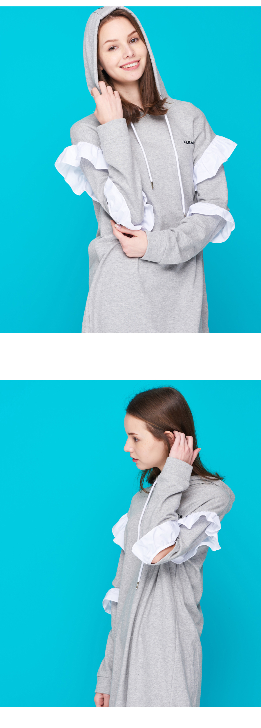 프릴 원피스 페미닌  맨투맨 후드티 FRILL ONE-PIECE HOODIE_06 - 클앤립, 39,000원, 스트릿패션, 후드티/집업
