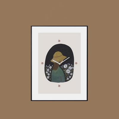 벽걸이 액자시계 모자소녀 검정프레임 30x40